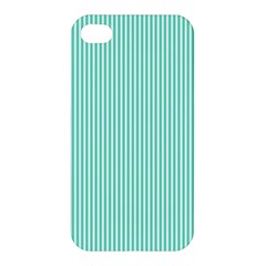 Classy Tiffany Aqua Blue Sailor Stripes Apple Iphone 4/4s Premium Hardshell Case by PodArtist