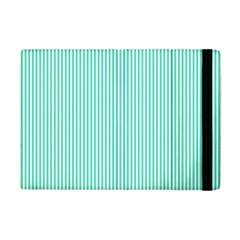 Classy Tiffany Aqua Blue Sailor Stripes Apple Ipad Mini Flip Case by PodArtist