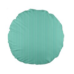 Classy Tiffany Aqua Blue Sailor Stripes Standard 15  Premium Round Cushions by PodArtist