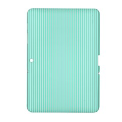 Classy Tiffany Aqua Blue Sailor Stripes Samsung Galaxy Tab 2 (10 1 ) P5100 Hardshell Case  by PodArtist
