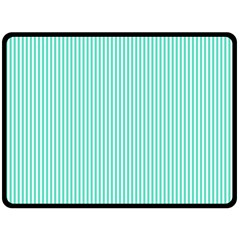 Classy Tiffany Aqua Blue Sailor Stripes Double Sided Fleece Blanket (large)  by PodArtist