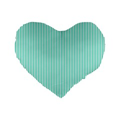 Classy Tiffany Aqua Blue Sailor Stripes Standard 16  Premium Flano Heart Shape Cushions by PodArtist