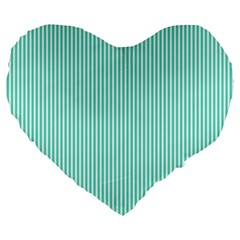 Classy Tiffany Aqua Blue Sailor Stripes Large 19  Premium Flano Heart Shape Cushions by PodArtist