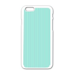 Classy Tiffany Aqua Blue Sailor Stripes Apple Iphone 6/6s White Enamel Case by PodArtist