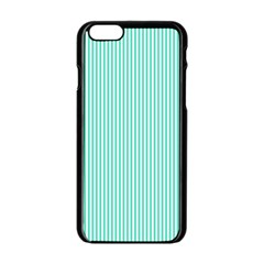 Classy Tiffany Aqua Blue Sailor Stripes Apple Iphone 6/6s Black Enamel Case by PodArtist