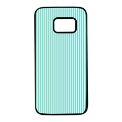 Classy Tiffany Aqua Blue Sailor Stripes Samsung Galaxy S7 Black Seamless Case by PodArtist
