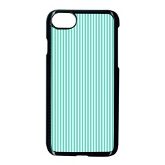 Classy Tiffany Aqua Blue Sailor Stripes Apple Iphone 8 Seamless Case (black) by PodArtist