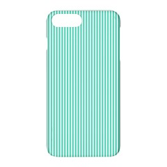 Classy Tiffany Aqua Blue Sailor Stripes Apple Iphone 8 Plus Hardshell Case by PodArtist