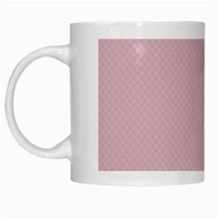Baby Pink Stitched And Quilted Pattern White Mugs by PodArtist