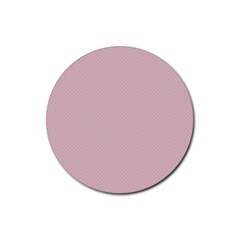 Baby Pink Stitched And Quilted Pattern Rubber Coaster (round)  by PodArtist
