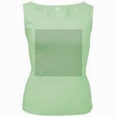 Bright White Stitched And Quilted Pattern Women s Green Tank Top