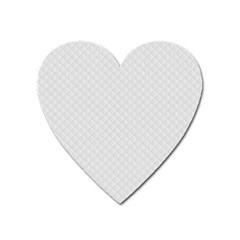 Bright White Stitched And Quilted Pattern Heart Magnet by PodArtist