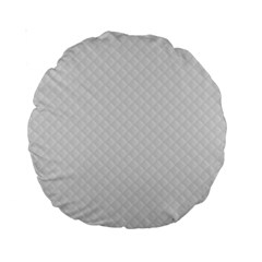 Bright White Stitched And Quilted Pattern Standard 15  Premium Round Cushions by PodArtist