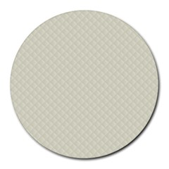 Rich Cream Stitched And Quilted Pattern Round Mousepads by PodArtist