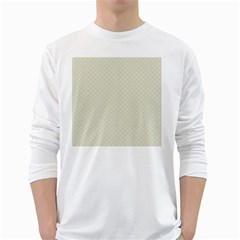 Rich Cream Stitched And Quilted Pattern White Long Sleeve T-shirts by PodArtist