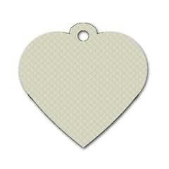 Rich Cream Stitched And Quilted Pattern Dog Tag Heart (one Side) by PodArtist