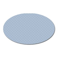 Powder Blue Stitched And Quilted Pattern Oval Magnet by PodArtist