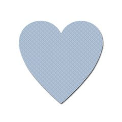 Powder Blue Stitched And Quilted Pattern Heart Magnet by PodArtist