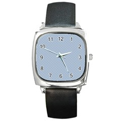 Powder Blue Stitched And Quilted Pattern Square Metal Watch by PodArtist