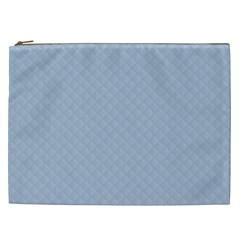 Powder Blue Stitched And Quilted Pattern Cosmetic Bag (xxl)  by PodArtist