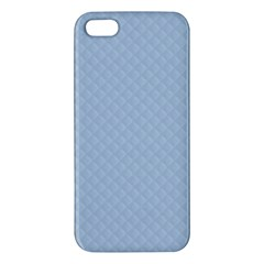 Powder Blue Stitched And Quilted Pattern Apple Iphone 5 Premium Hardshell Case by PodArtist