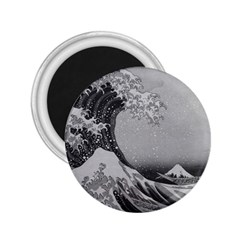 Black And White Japanese Great Wave Off Kanagawa By Hokusai 2 25  Magnets by PodArtist