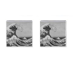 Black And White Japanese Great Wave Off Kanagawa By Hokusai Cufflinks (square) by PodArtist