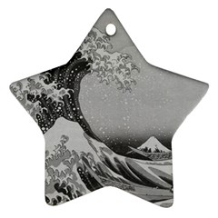 Black And White Japanese Great Wave Off Kanagawa By Hokusai Star Ornament (two Sides) by PodArtist