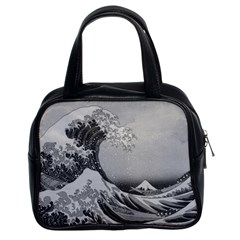 Black And White Japanese Great Wave Off Kanagawa By Hokusai Classic Handbags (2 Sides) by PodArtist