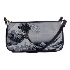 Black And White Japanese Great Wave Off Kanagawa By Hokusai Shoulder Clutch Bags by PodArtist