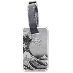 Black And White Japanese Great Wave Off Kanagawa By Hokusai Luggage Tags (two Sides) by PodArtist