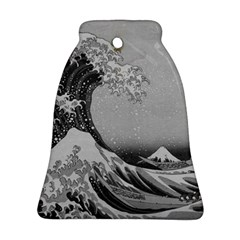 Black And White Japanese Great Wave Off Kanagawa By Hokusai Bell Ornament (two Sides) by PodArtist