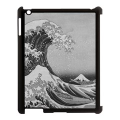 Black And White Japanese Great Wave Off Kanagawa By Hokusai Apple Ipad 3/4 Case (black) by PodArtist