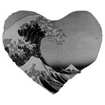 Black and White Japanese Great Wave off Kanagawa by Hokusai Large 19  Premium Heart Shape Cushions Front