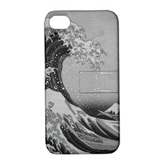 Black And White Japanese Great Wave Off Kanagawa By Hokusai Apple Iphone 4/4s Hardshell Case With Stand by PodArtist