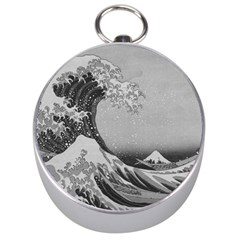Black And White Japanese Great Wave Off Kanagawa By Hokusai Silver Compasses by PodArtist