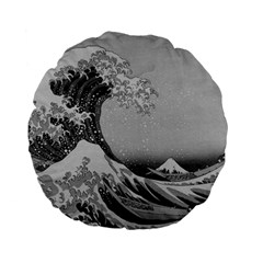 Black And White Japanese Great Wave Off Kanagawa By Hokusai Standard 15  Premium Flano Round Cushions by PodArtist