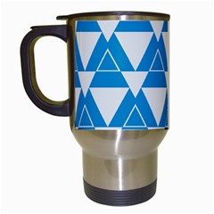 Blue & White Triangle Pattern  Travel Mugs (white) by berwies