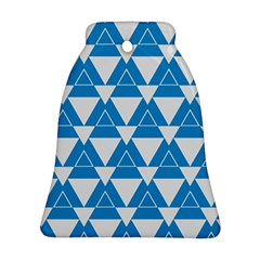 Blue & White Triangle Pattern  Bell Ornament (two Sides) by berwies