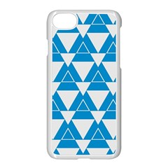 Blue & White Triangle Pattern  Apple Iphone 7 Seamless Case (white)