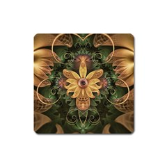 Beautiful Filigree Oxidized Copper Fractal Orchid Square Magnet by jayaprime