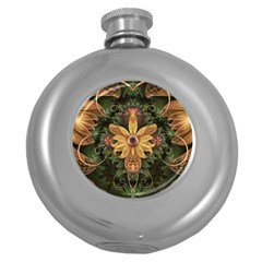 Beautiful Filigree Oxidized Copper Fractal Orchid Round Hip Flask (5 Oz) by jayaprime