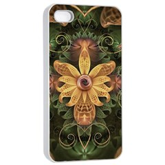 Beautiful Filigree Oxidized Copper Fractal Orchid Apple Iphone 4/4s Seamless Case (white) by jayaprime