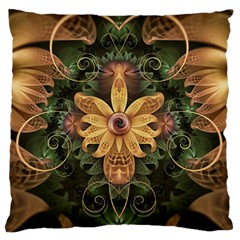 Beautiful Filigree Oxidized Copper Fractal Orchid Large Flano Cushion Case (two Sides) by jayaprime