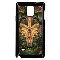 Beautiful Filigree Oxidized Copper Fractal Orchid Samsung Galaxy Note 4 Case (black) by jayaprime