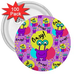 Crazy 3  Buttons (100 Pack)  by gasi