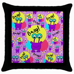 Crazy Throw Pillow Case (black) by gasi