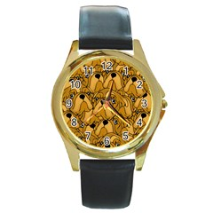 Bulldogge Round Gold Metal Watch by gasi