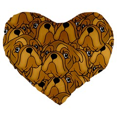 Bulldogge Large 19  Premium Heart Shape Cushions by gasi