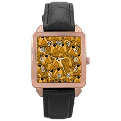 Bulldogge Rose Gold Leather Watch  by gasi